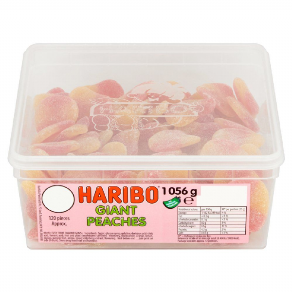 Haribo Giant Peaches Full Tub 120 pieces